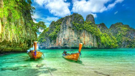 Maya Bay Ko Phi Phi Leh In Thailand Boat Exotic Desktop