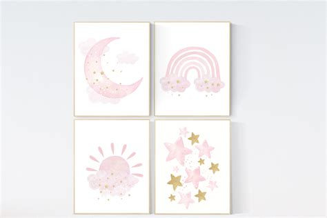 The colors and affordable options lets get started. Pink gold nursery, Nursery wall art girl, rainbow, moon and star, cloud, sun, baby room decor ...