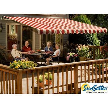 motorized retractable awning  woven acrylic fabric
