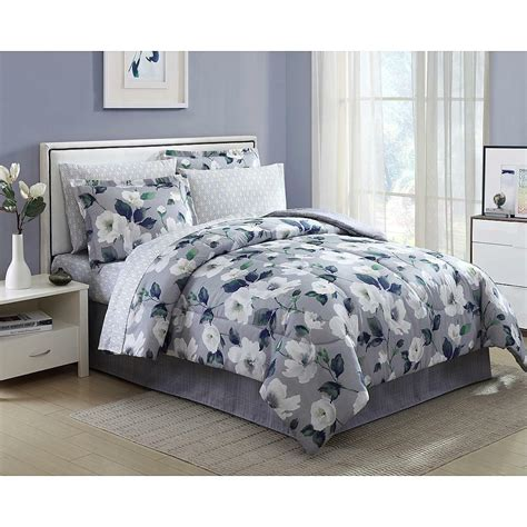 pieces complete comforter set bed   bag flowers