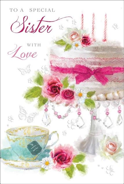 birthday sister card  beautiful birthday cake adorned