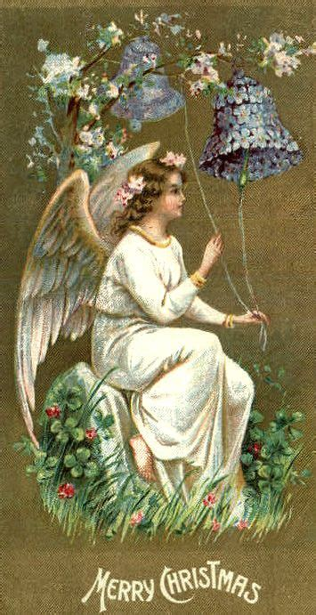 vintage angel christmas card violets vintage christmas