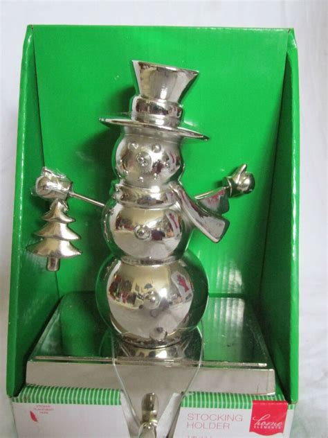 snowman christmas stocking hanger shinny chrome