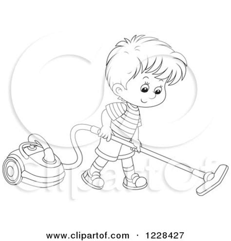 vacuum clipart black and white clipart of an outlined boy using a canister vacuum