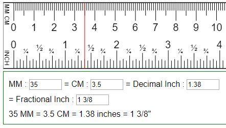 convert mm cm  fraction  decimal inches inmmcm