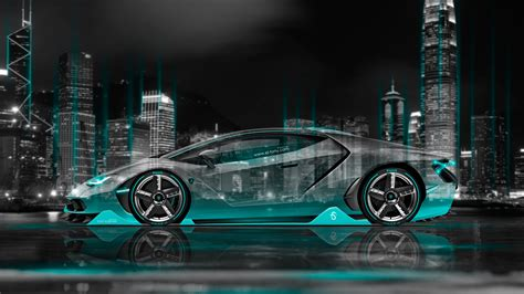 lamborghini centenario side crystal city night car