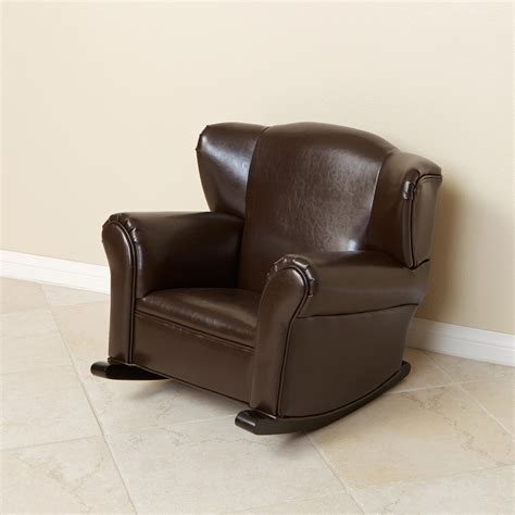 Bonded Leather Brown Kids Rocking Chair  Free Shipping