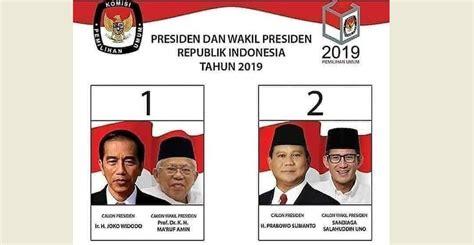 Nomor Urut Capres 2019: Jokowi Ma ruf 1 Prabowo Sandi 2