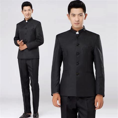 Traditional Japanese Wedding Suit by Black 2018 New Arrival Singer Slim Tunic Suit