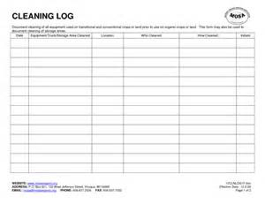 Equipment Cleaning Log Template