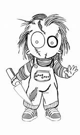 Chucky Doll Drawings Outlines Horror Coloring Scary Deviantart Sketch Template sketch template