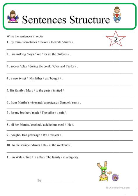 kindergarten sentence structure worksheets building