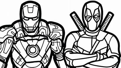 Coloring Marvel Deadpool Pages Heroes Iron Printable