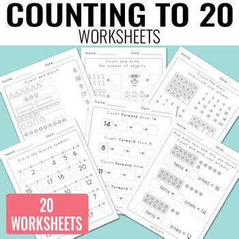 counting to 20 worksheets kindergarten by easy peasy learners