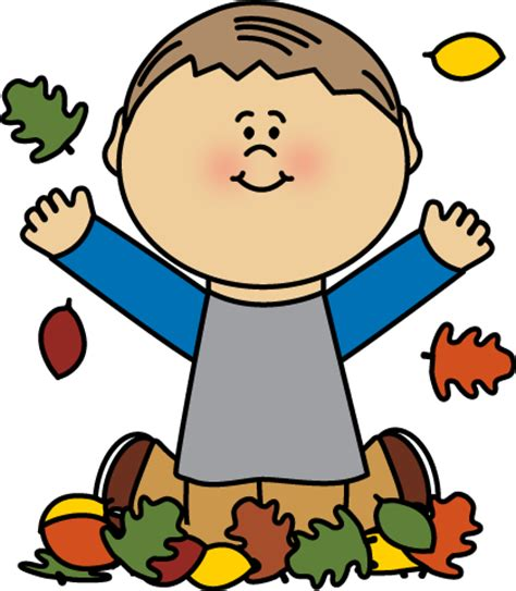 Kids Playing in Fall Leaves Clip Art