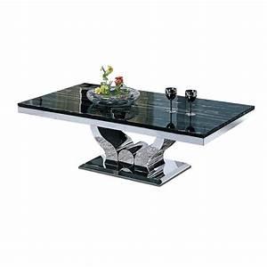 Table basse design en inox massif et marbre ou verre NOVA pop desig