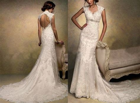 High Quality Cap Sleeve Lace Wedding Dress V Neck Backless