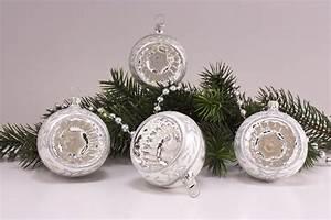 Weihnachtskugeln Aus Lauscha : 4 reflexkugeln 6cm silber glanz mattes band ~ Orissabook.com Haus und Dekorationen