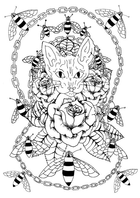 Sphynx cat, bees and metal chain - Tattoos Adult Coloring Pages