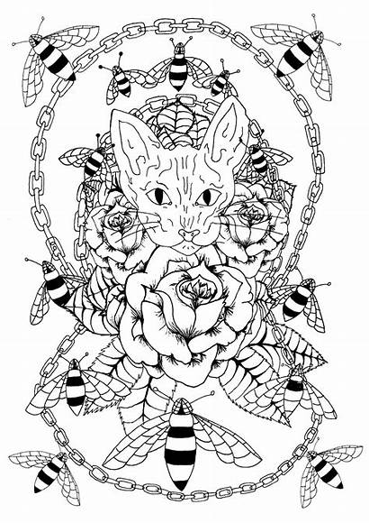 Coloring Tattoo Pages Tattoos Cat Sphynx Bees