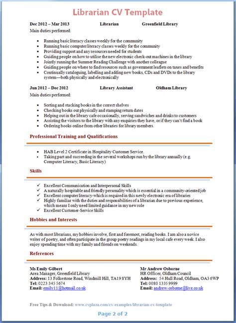 Librarian Resume Exles 2015 by Librarian Cv Template 2