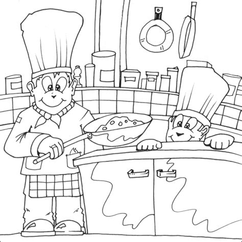 kitchen coloring pages chef coloring page getcoloringpages 3385
