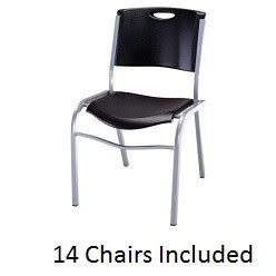 Lifetime Stacking Chairs 2830 by Lifetime Stacking Chairs 2830 Black Molded Seat 14 Pack