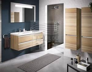 Meuble Double Vasque Suspendu : meubles de salle de bains suspendus double vasque avec plan en beton de synthese aquarine ~ Melissatoandfro.com Idées de Décoration