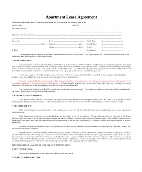 Apartment Lease Agreement Template Business 9 Apartment Lease Agreement Templates Word Pdf Pages