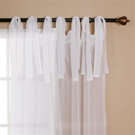 best home fashion sheer voile curtains tie top white