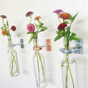 2 Wine Bottle Wall Flower Vases Mother's day gift Wall