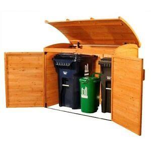 garbage  storage outdoor trash shed wooden refuse