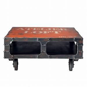 Table Basse Loft : table basse roulettes rouge l 90 cm terminus maisons du monde ~ Teatrodelosmanantiales.com Idées de Décoration