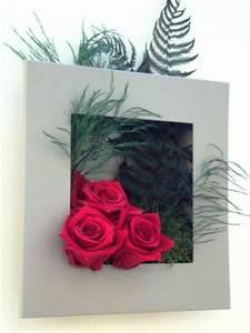 Tableau Végétal Mural : cadre tableau vegetal rose rouge fleurs feuillage naturel ~ Premium-room.com Idées de Décoration