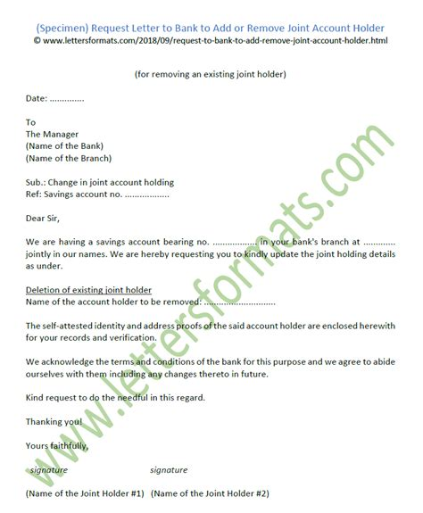 request letter  bank  add  remove joint account