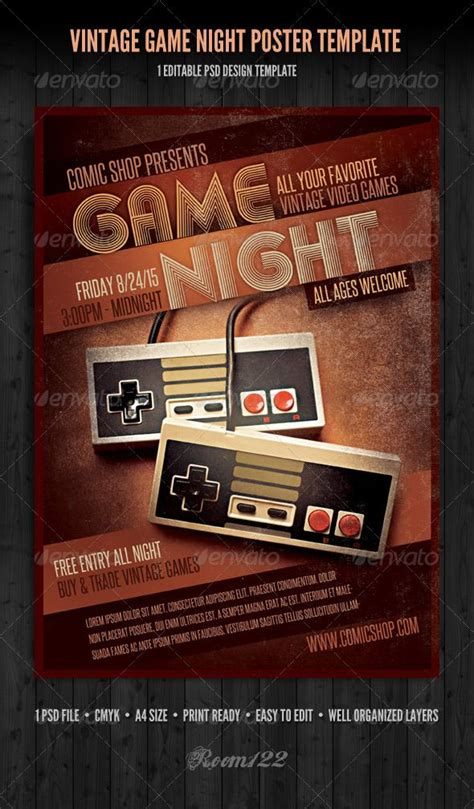 vintage game night poster template  flyer