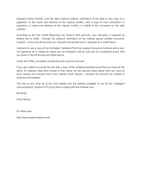 section 609 credit dispute letter template credit repair letter