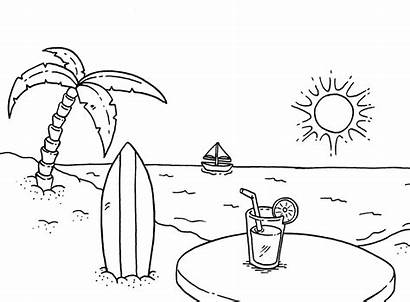 Coloring Beach Pages Seasons Tropical Rocks