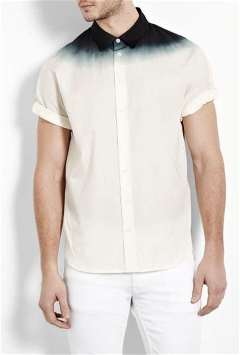 31 Phillip Lim White Black Dip Dyed Short Sleeve Shirt In