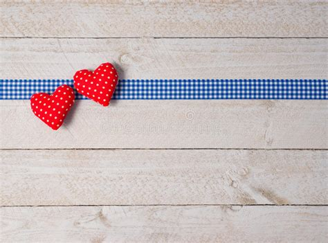 hearts  ribbon  white wood background stock photo