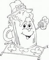 Coloring Beer Mug Irish Patrick Printable Saint Leprechaun Jam Monster Truck Imageslist Dibujos sketch template