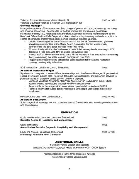 sle resume for restaurant manager sle resumes