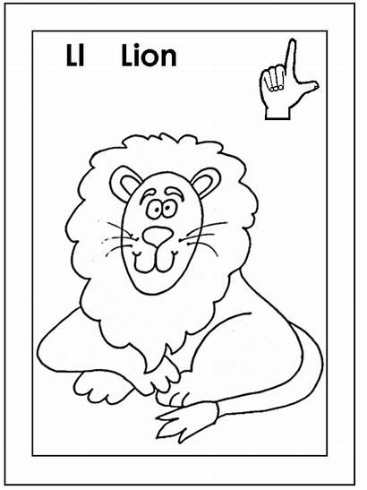 Coloring Language Sign Letter American Ll Lion