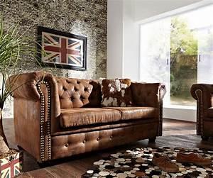 Chesterfield Sofa Wildlederoptik : 2 sitzer couch chesterfield braun 160x92 cm antik optik sofa ~ Indierocktalk.com Haus und Dekorationen