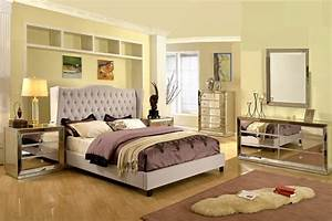 Formal, Silver, Mirrored, Jameson, Bedroom, Set, Taupe, Color, California, King, Size, Bed, Wing, Back, Linen