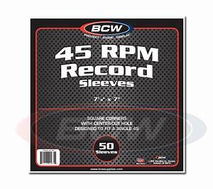 Pack / 50 BCW 45 RPM Paper Record Sleeves - Square Corners ...