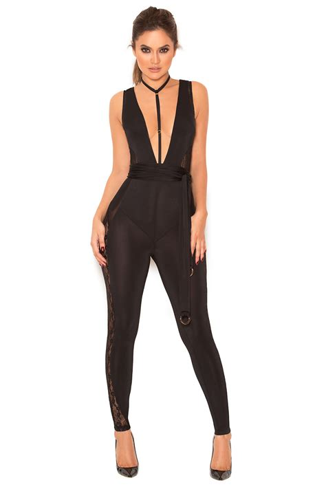Sheer Lace Jumpsuit clothing jumpsuits scopa black sheer lace and silky