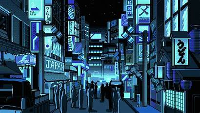 Pixel Japan Street Vaporwave Animated Aesthetic Desktop