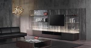 meuble salon moderne noir urbantrottcom With meubles de salon contemporain