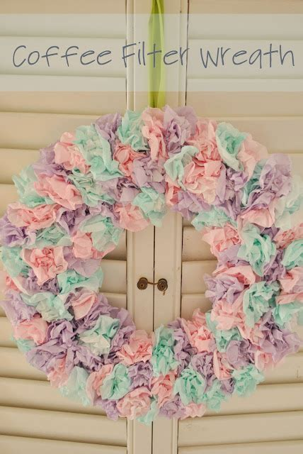 … had the tutorial for this wreath pinned on my board. It's on the tip of my tongue...: Project Pinterest: Coffee Filter Wreath